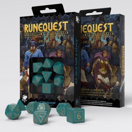 RuneQuest Turqoise & gold Würfelset