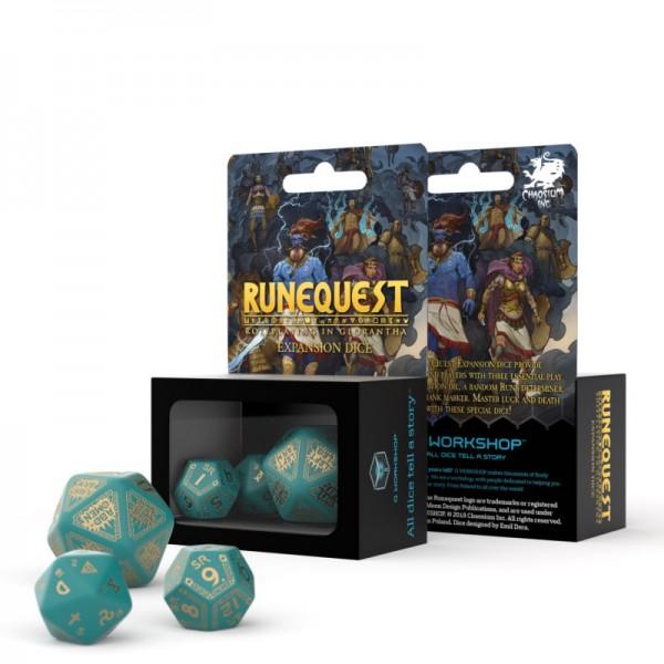 RuneQuest Turqoise & gold Expansion-Würfelset